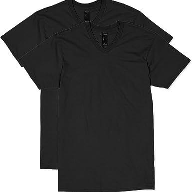 Hanes V-Neck Tee Shirts Black L or XL Long Sleeve Comfort Blend Small Pocket
