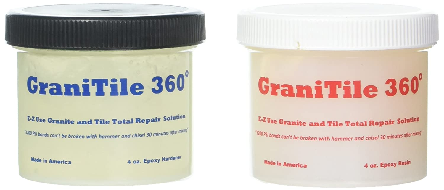GraniTile 360~8 oz. epoxy knife grade kit. Specifically formulated for granite tile and ALL stone repair Easily and quickly repairs chipped broken and missing pieces Covers 350 sq. inches