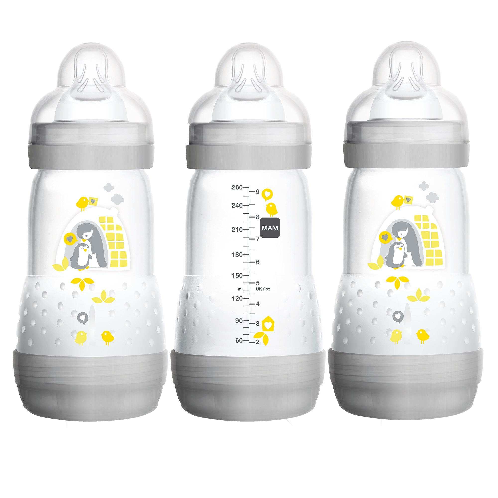 MAM Baby Bottles for Breastfed Babies, MAM Bottles Anti Colic, Gray, ''Time for Love'' Designs, 9 Ounces, 3-Count by MAM