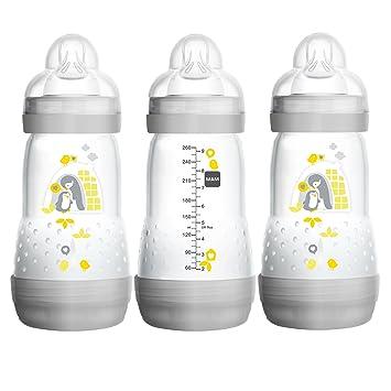 """3d772ba6f6060 MAM Baby Bottles for Breastfed Babies, MAM Bottles Anti Colic, Gray, """""""