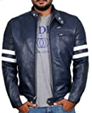 Laverapelle Men's Genuine Lambskin Leather Jacket (Navy Blue, Large, Polyester Lining) - 1501535