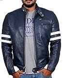 Laverapelle Men's Genuine Lambskin Leather Jacket (Navy Blue, Large, Polyester Lining) - 1501535