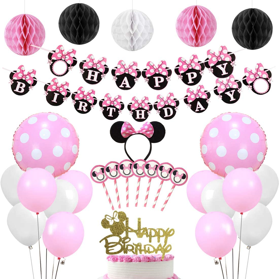 Pink Happy Birthday Banner Cake Topper Honeycomb Balls for Minnie Themed Party Supplies Birthday Party Decorations Themed of Minnie Mouse for Girls