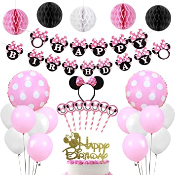 Suministros para la fiesta de Minnie Mouse rosa, pancarta de ...