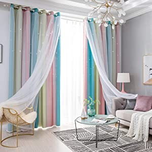 Blusea Star Window Curtains, Double Layer Blackout Curtains for Kids Girls Bedroom, Hollow Twinkle Stars Curtains, Colorful Rainbow Curtains for Living Room, Home Decoration, 1 Panel