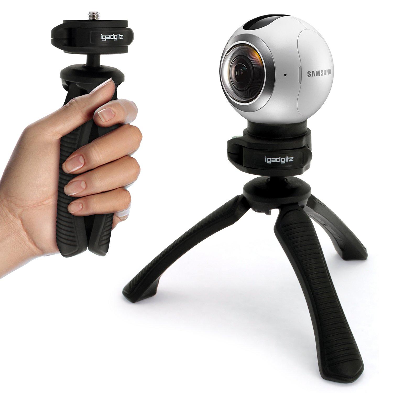 74cad8164b4334 igadgitz PT310 Mini Trépied de Table Léger et Poignée Stabilisateur pour  Samsung Gear 360 Camera  Amazon.fr  Photo   Caméscopes