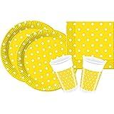 Procos 10105480 - Set di accessori per feste, motivo: puntini gialli, misura S