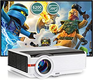 WIKISH 6200 Lumen Outdoor Movie Projector,200 Inch Display Zoom 50,000 Hrs Led Home Cinema Projector with Hdmi Usb Av Vga for Laptop Fire Stick Ps4