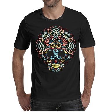 Godfer Arabe Mens Short Sleeve Skull And Lotus Flower Fashion T