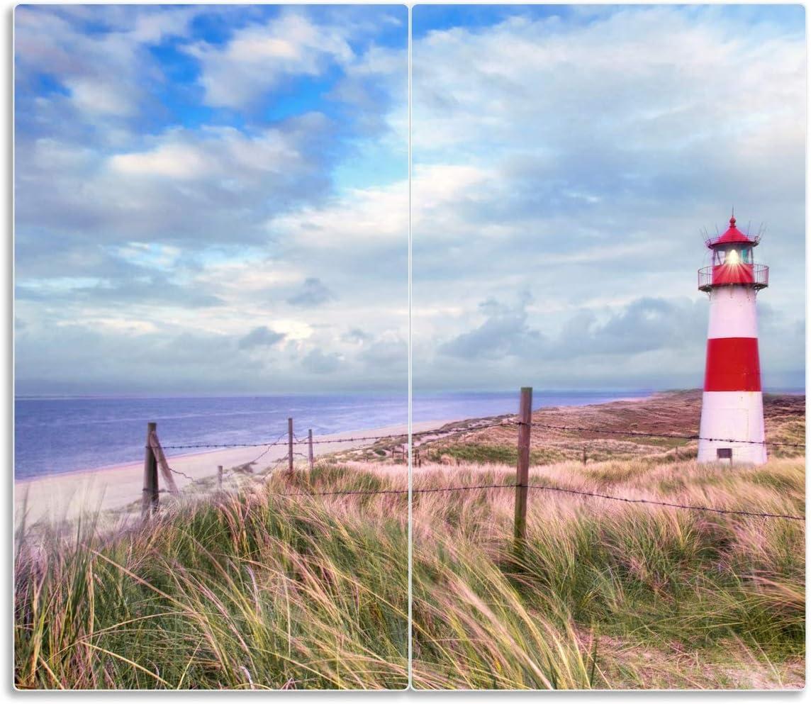 Wallario Herdabdeckplatte//Spritzschutz aus Glas Leuchtturm am Strand von Sylt 1-teilig f/ür Ceran- und Induktionsherde 60x52cm