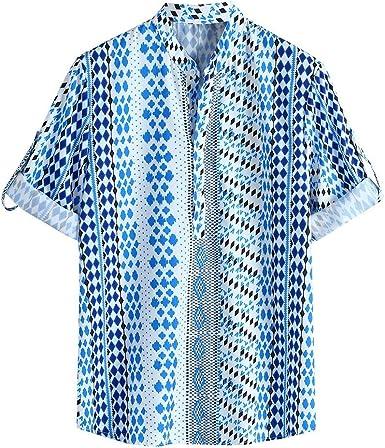 CAOQAO Camisa Hawaiana Hombre Manga Corta Verano 2019 Cuello Redondo Holgado Multicolor Media Manga Cuello Alto Dobladillo Redondo: Amazon.es: Ropa y accesorios