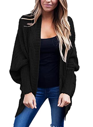 920c9450a8 FARYSAYS Women s Casual Long Sleeve Open Front Batwing Knitted Cardigan  Sweaters Black Small