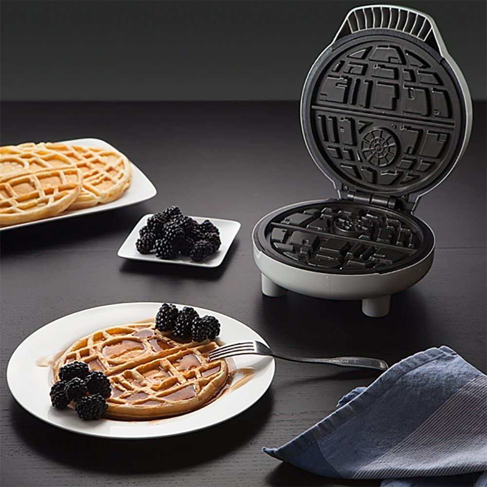 ThinkGeek Star Wars Death Star Waffle Maker – Perfect for All Your Evil Waffle Needs – Produces a 7-Inch Diameter Round Waffle with 2 Sections