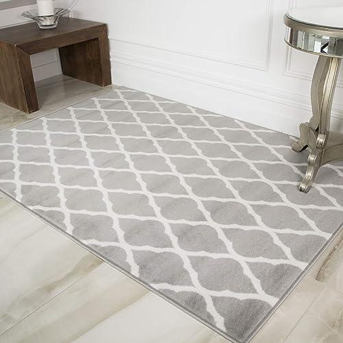 Milan Soft Touch Gray Brown Taupe Classic Gray Trellis Geometric Print Rug 6 3 x 9 3