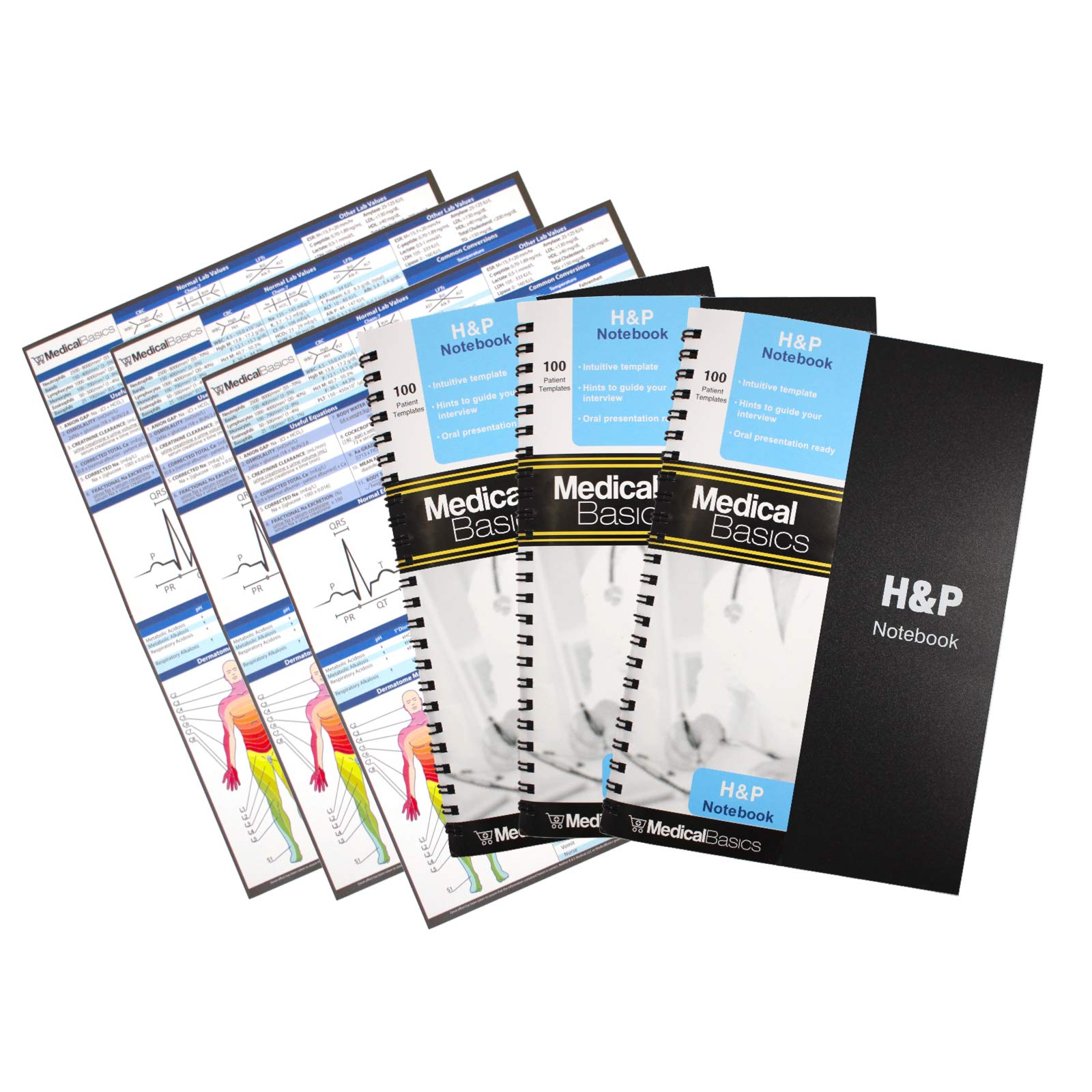 H&P notebook (3 pack) - Medical History and Physical notebook, 100 medical templates with perforations
