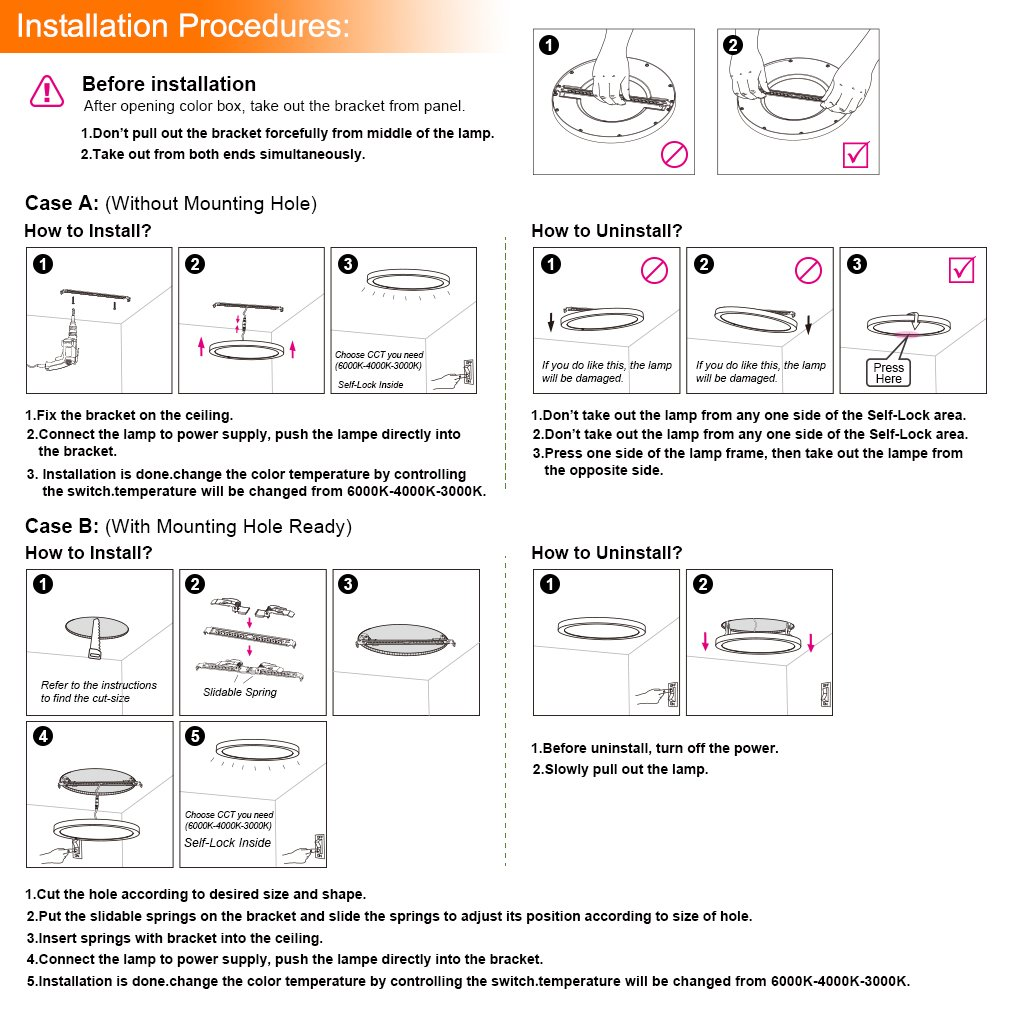 Oeegoo 18w Led Ceiling Lights With Brushed Bronze Ring Super Thin Light Wiring Diagram Flush 4000k 1530lm