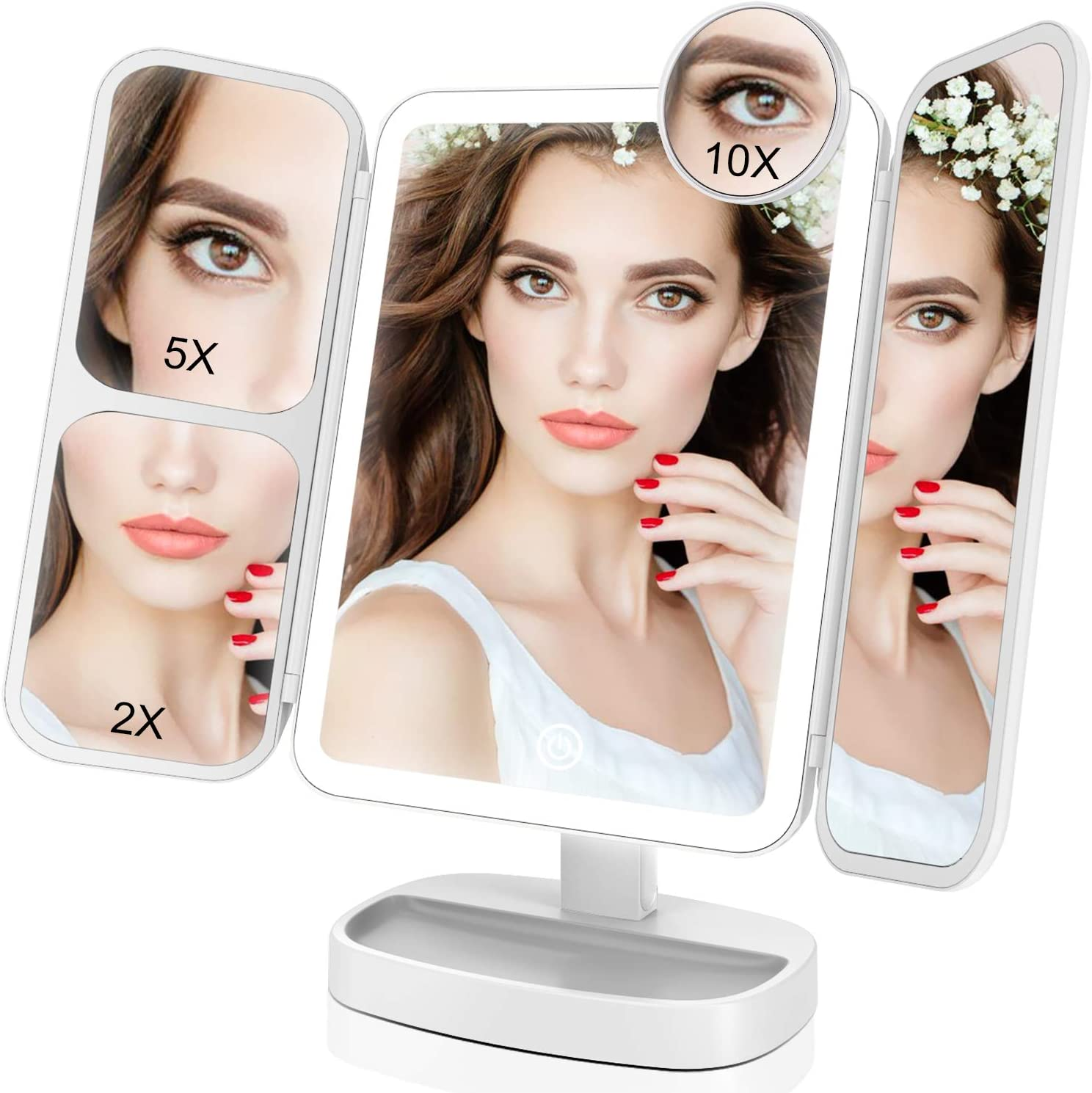 EASEHOLD 1X, 2X, 5X, 10X Lighted Tabletop Makeup Mirror Reviews