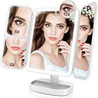 EASEHOLD Miroir Maquillage Lumineux LED Tri-Pli 66 LED 180° Batterie USB