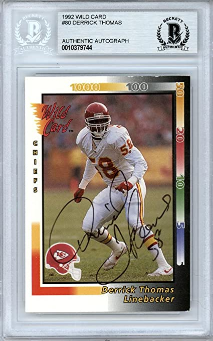 7a96da56535 Derrick Thomas Autographed 1992 Wild Card Card  80 Kansas City Chiefs  Beckett BAS  10379744