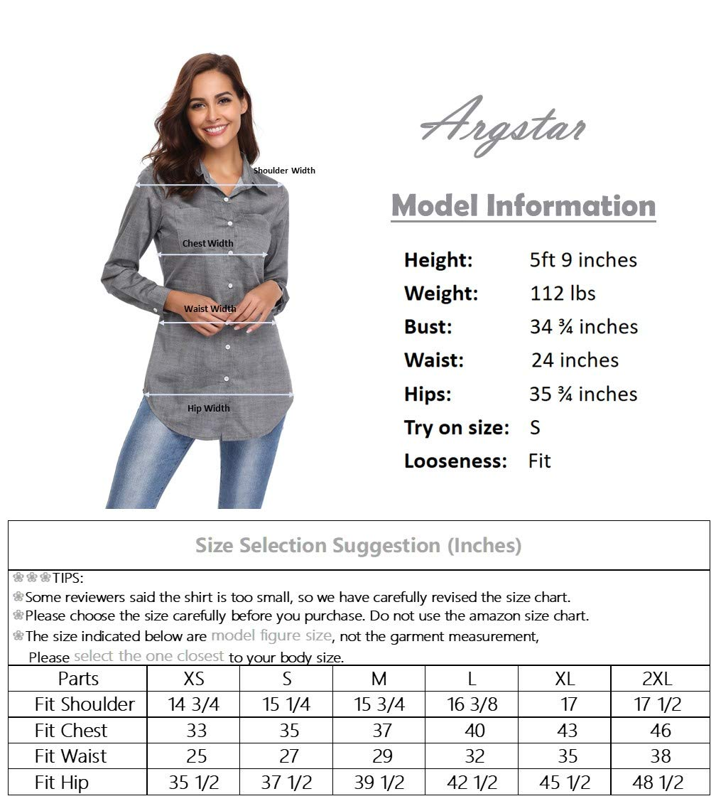 Argstar Women's Chambray Button Down Shirt Long Sleeve Jeans Top,Gray,Large (US 12-14) by Argstar (Image #6)