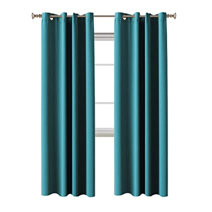 Turquoize Solid Blackout Drapes Teal Blue Turquoise Themal Insulated Grommet Eyelet