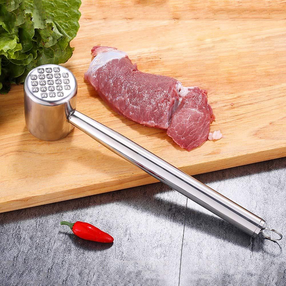 Stainless Steel Meat Tenderizer Mallet Hammer Pounder Dual-Sided Tool Flatten R