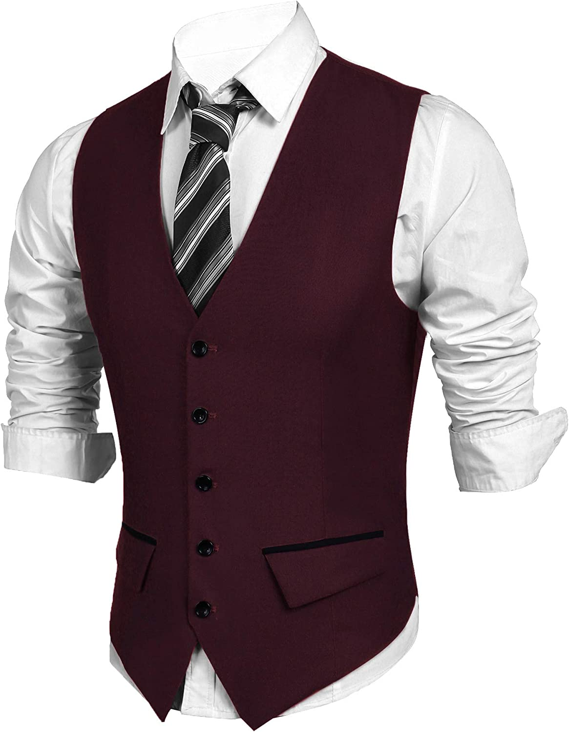 JINIDU Mens Slim Fit Dress Vest Business Suit Vest Formal Wedding Waistcoat