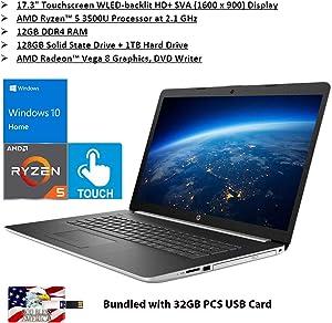 "2020 HP 17.3"" Touchscreen WLED Backlit HD Laptop AMD Ryzen 5 3500U 12GB DDR4-2400MHz SDRAM 128GB PCIe SSD + 1TB SATA HDD 2xUSB 3.1 1x HDMI Win 10 Bundled with 32GB PCS USB Card"