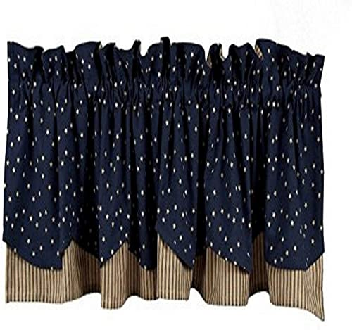 Home Collection by Raghu Salem Star Fairfield Valance, 72 by 15.5-Inch, Indigo Nutmeg