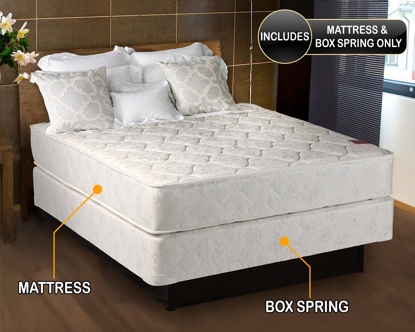 Legacy Medium Firm Full Size (54''x75''x7'') Mattress and Box Spring Set - Fully Assembled, Orthopedic, Good Back Support, Sleep System with Enhance Support and Longlasting by Dream Solutions USA