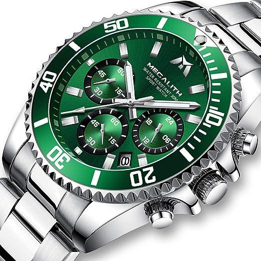 Relojes Hombre Relojes Grandes de Pulsera Militares Cronografo Lujo Diseñador Luminosos Impermeable Reloj Hombre Deportivos de Acero Inoxidable Plata ...
