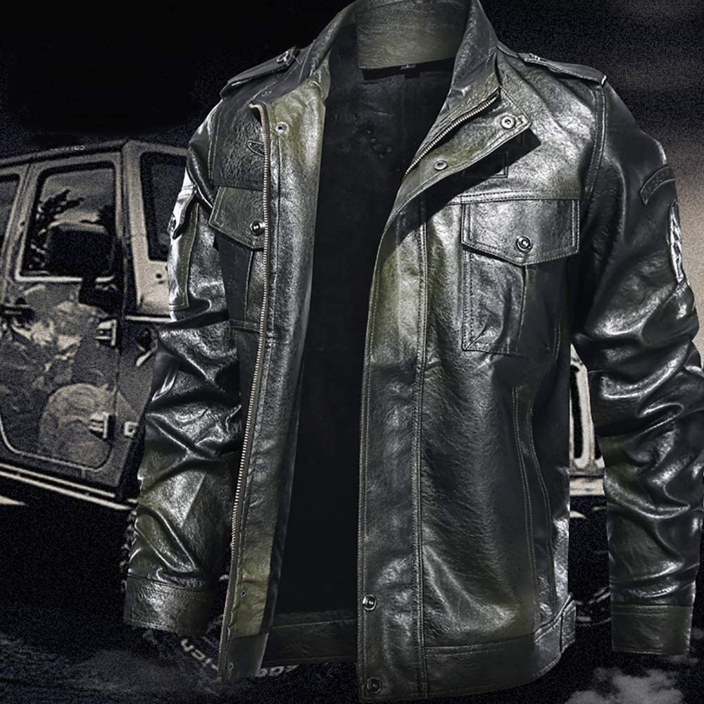 LHZTZKA Hommes L'Automne Et l'hiver Blousons avec Amovible À Capuche PU Cuir Manteau Parka Bomber Aviateur Veste Men Leather Jacket ArméE Verte
