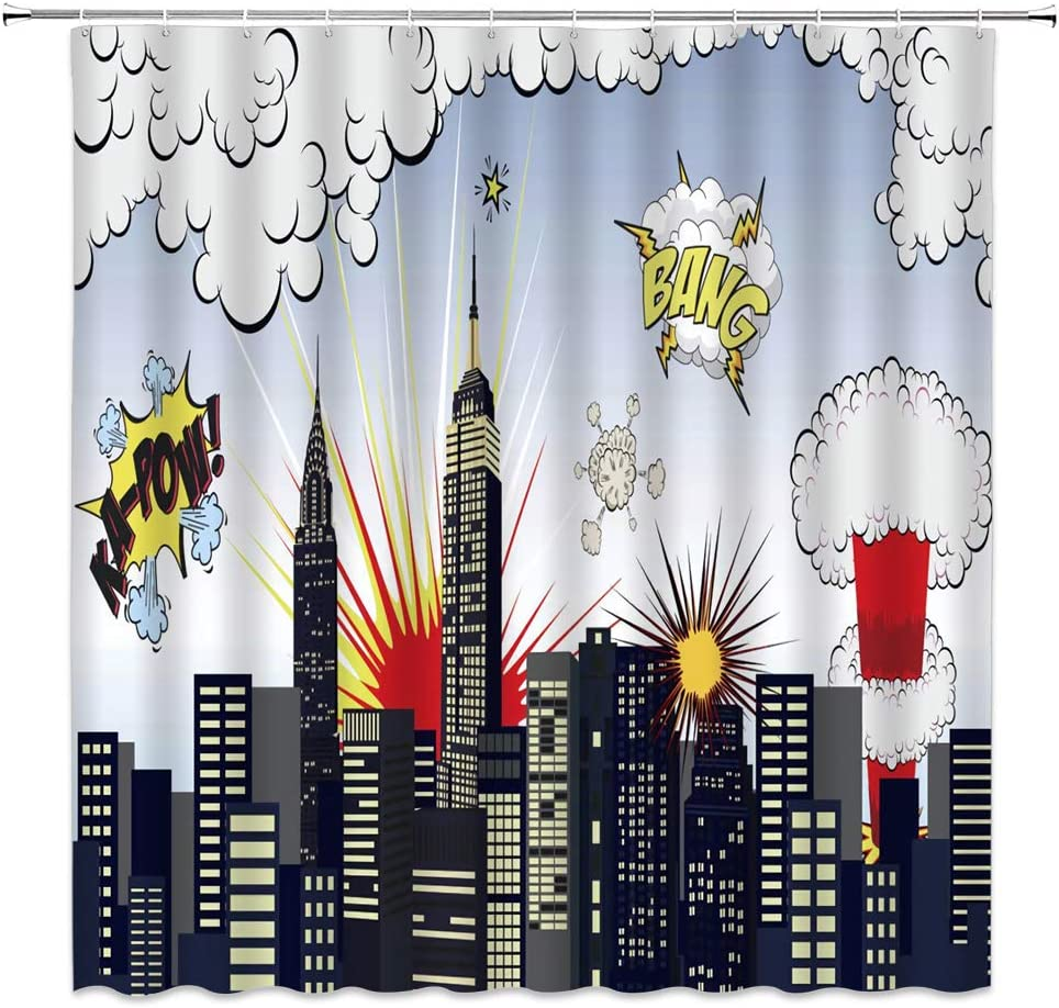 Cartoon Shower Curtain Cityscape Square Blue Print for Bathroom