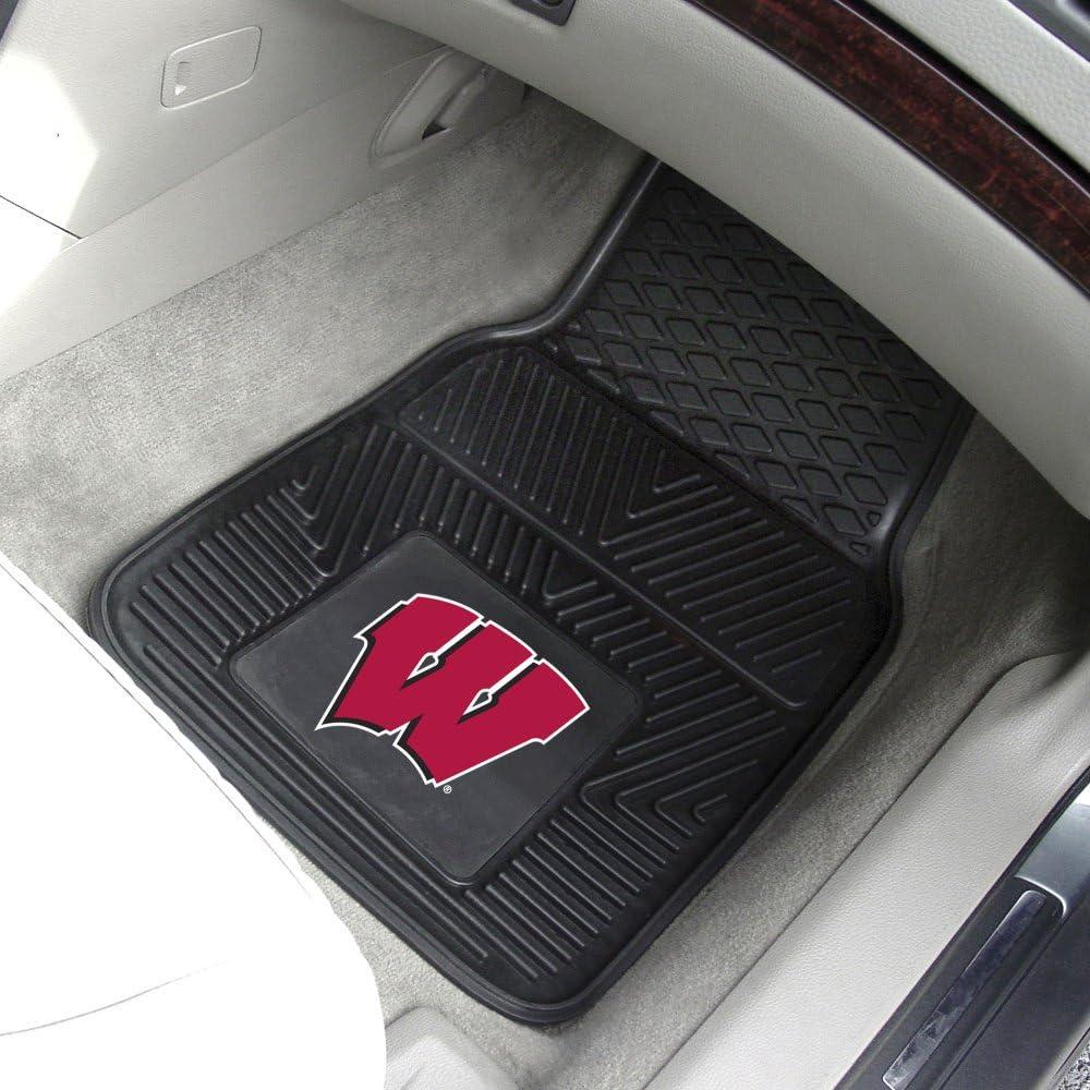 Wisconsin Badgers Black 2-Piece Vinyl Car Mat Set