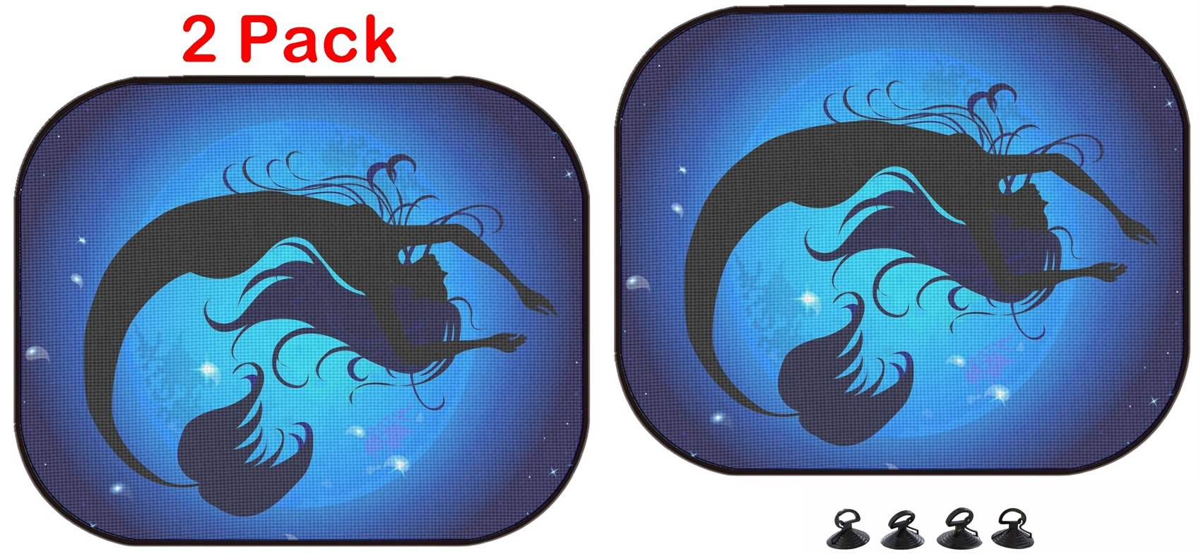 Luxlady Car Sun Shade Protector Block Damaging UV Rays Sunlight Heat for All Vehicles, 2 Pack Image ID: 35447018 Silhouette Jumped Out of The Water Mermaid on a Background of