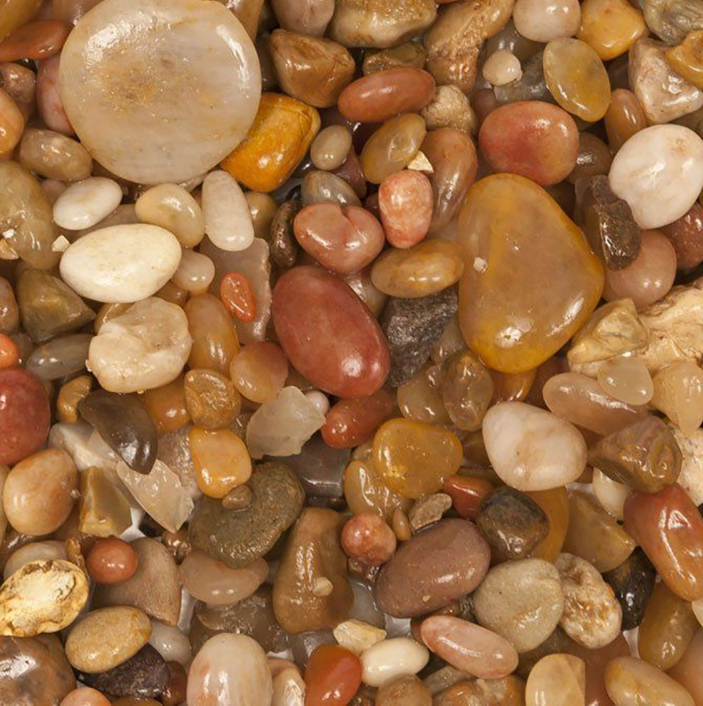 Safe & Non-Toxic {Various Sizes} 20 Pound Bag of Gravel, Rocks & Pebbles Decor for Freshwater Aquarium w Polished Natural Smooth Earthy Toned River Inspired Sleek Style [Tan & Brown]