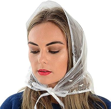 Rain Hats Three Pack Ladies Clear Plastic Rain Hat Hood Bonnet