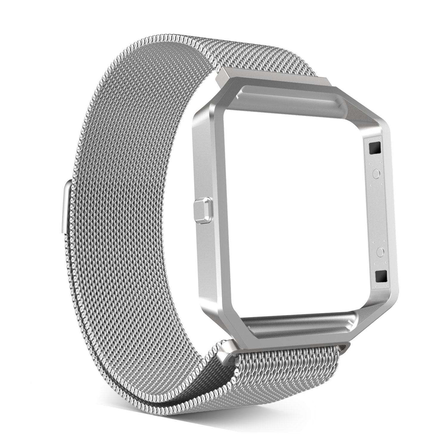Fitbit Blaze Accessories Band, MoKo Metal Frame Housing + Milanese Loop Mesh Stainless Steel Bracelet Strap Band with Magnet Lock for Fitbit Blaze Smart Fitness Watch - SILVER