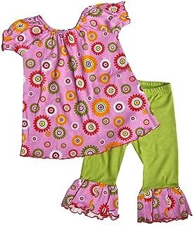 product image for Cheeky Banana Sweet Little Girls Floral Top & Ruffle Capri Leggings Pk/Lime