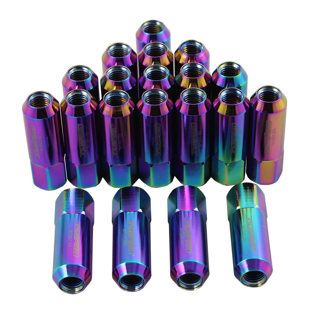 Generic JDMSPEED Neo Chrome 60MM Aluminum Extended Tuner Lug Nuts For Wheel Rims M12X1.5 20PCS