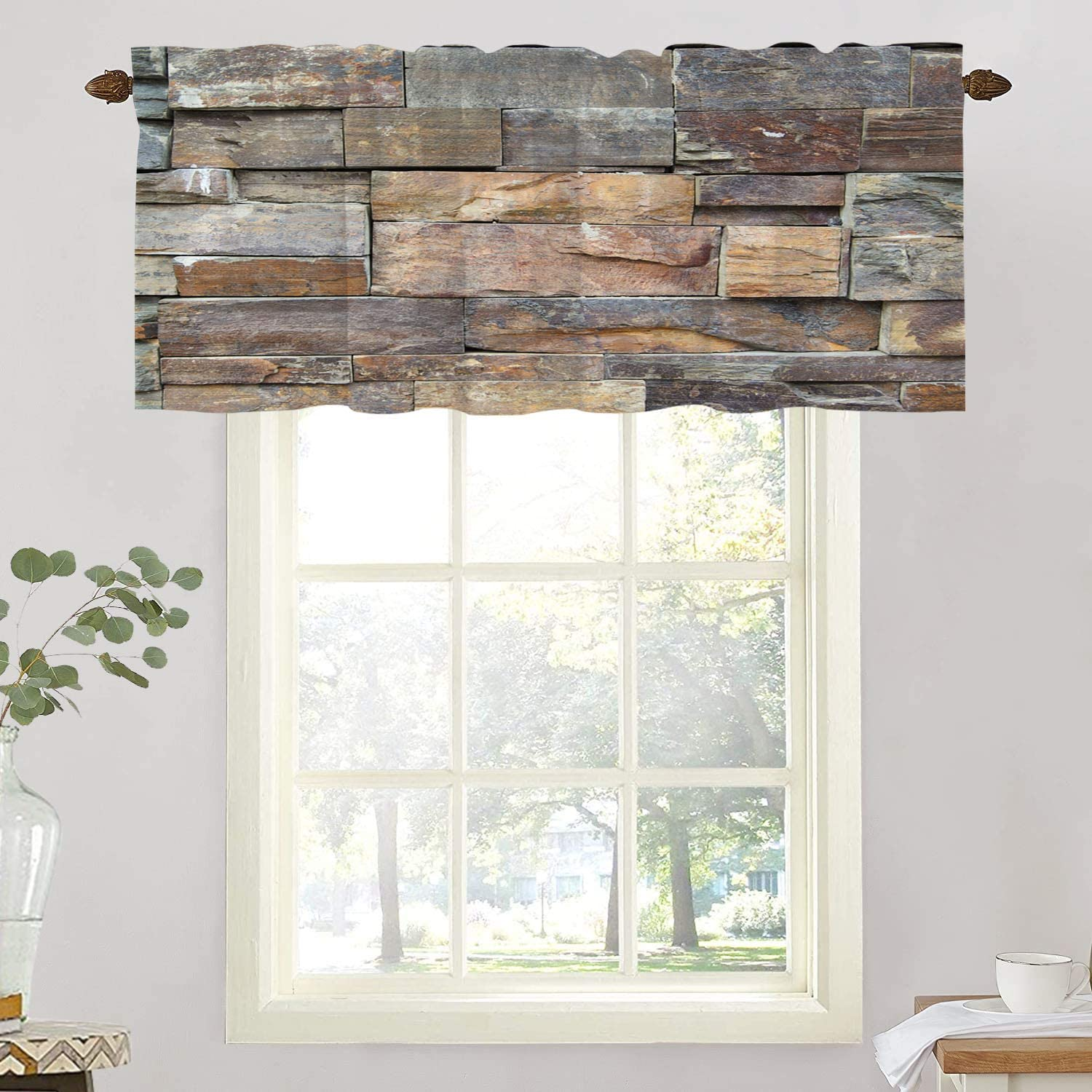BaoNews Brick Stone Marble Kitchen Valances Half Window Curtain, Brown Rough Brick Stone for Colorful Marble Wall Blackout Decoration Window Valances Curtains Drapes for Kitchen Bedroom