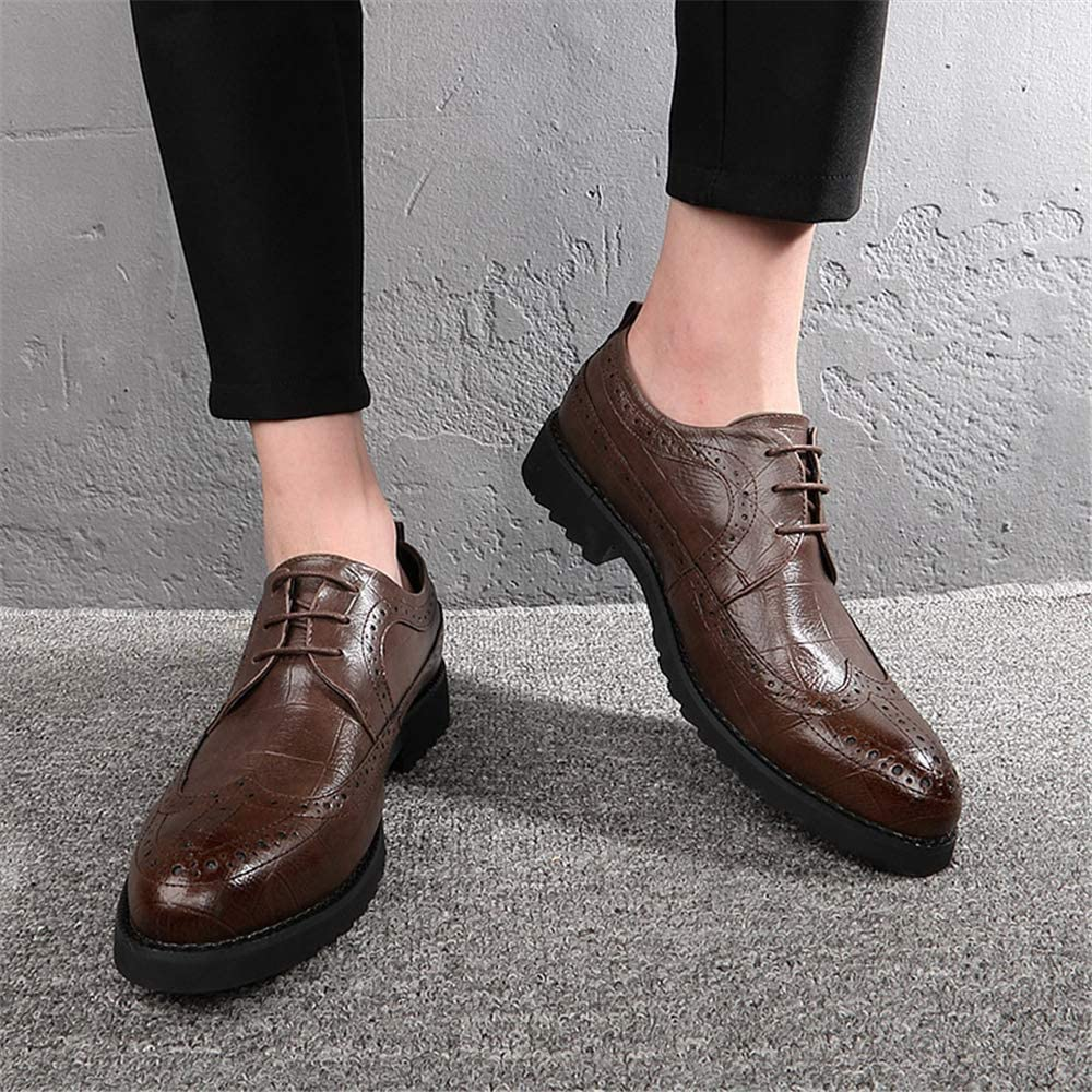 Super frist Mens Derby Leather Shoes Bullock Shoes with Hollow Carved Design for Elegant Look