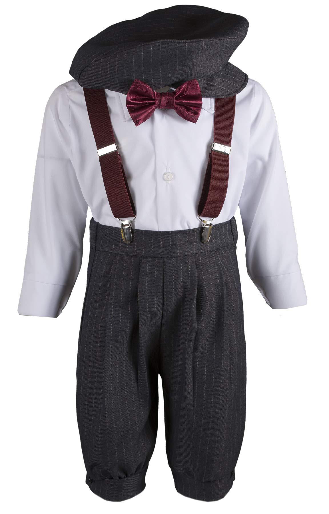 Tuxgear Boys Grey Knickers Pageboy Cap with Burgundy Rose Bow Tie & Suspenders (7B)