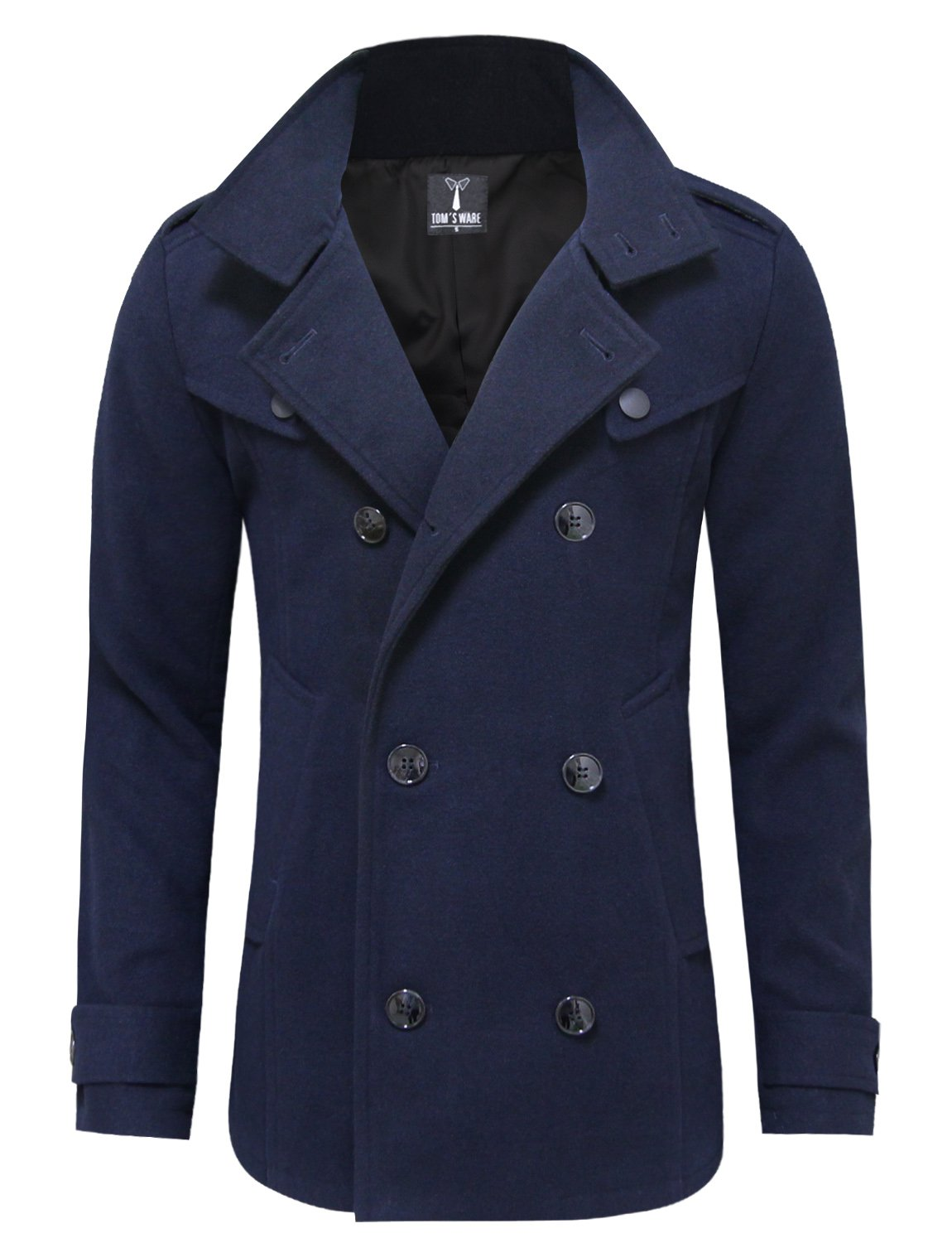Tom's Ware Mens Stylish Fashion Classic Wool Double Breasted Pea Coat TWCC06-NAVY-US M by Tom's Ware