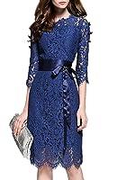 MissLook Women's Floral Lace Pierced Slim Bodycon Party Cocktail Midi Pencil Dress