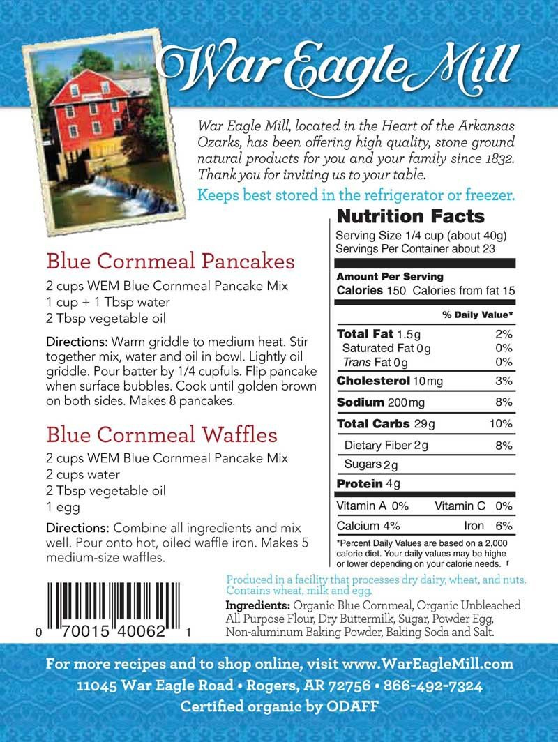 War Eagle Mill Blue Cornmeal Pancake Mix in a resealable bag (2 lbs)
