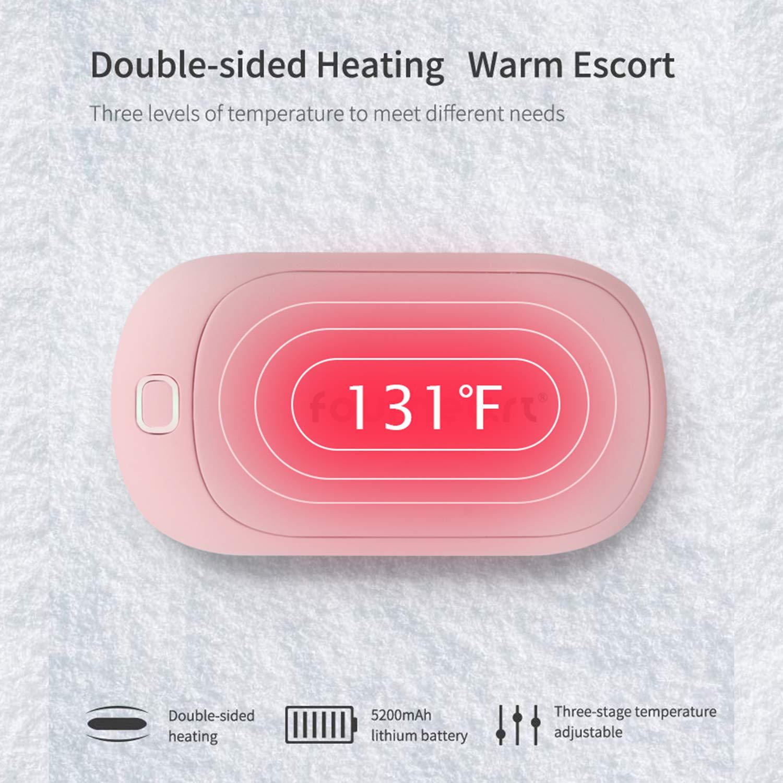 Four Heart Calentadores de Manos USB Recargable 5200mAh Powerbank Calienta Manos Electrico Reutilizable Calentamiento R/ápido Calentadores de Bolsillo Invierno.