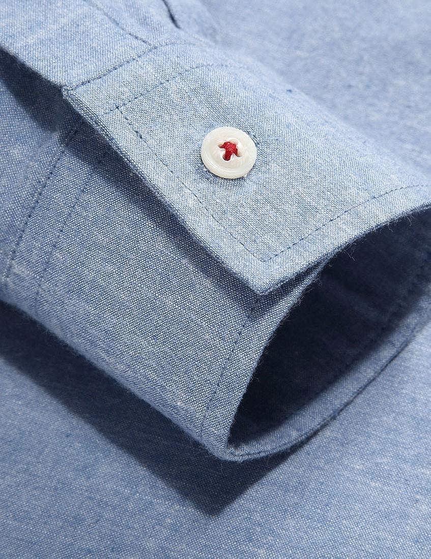 GH Men Color Block Long Sleeve Moisture Wicking Classic Version Plus-Size Cotton Shirt