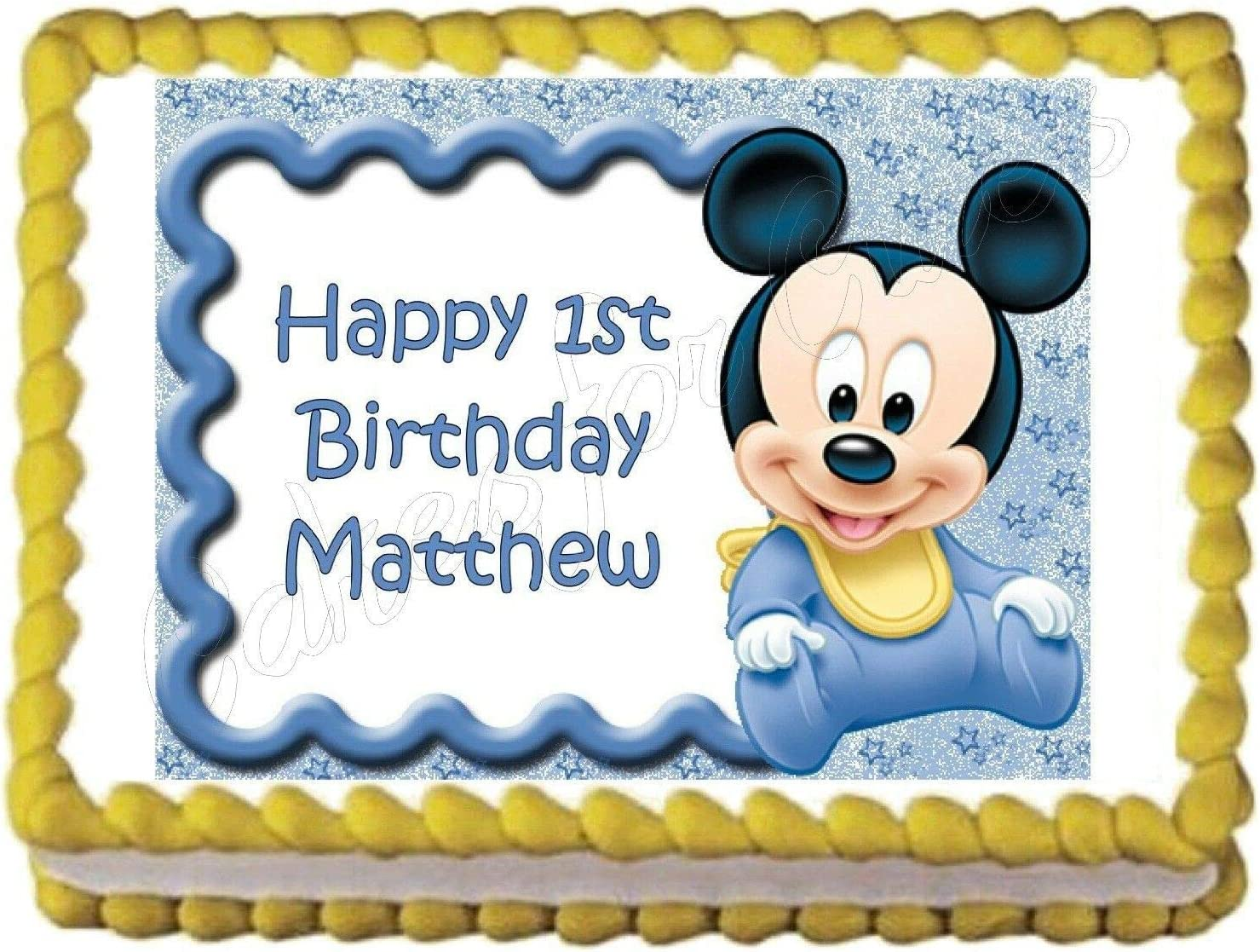Superb Amazon Com Cakes For Cures Baby Mickey Mouse Baby Shower Or Funny Birthday Cards Online Elaedamsfinfo