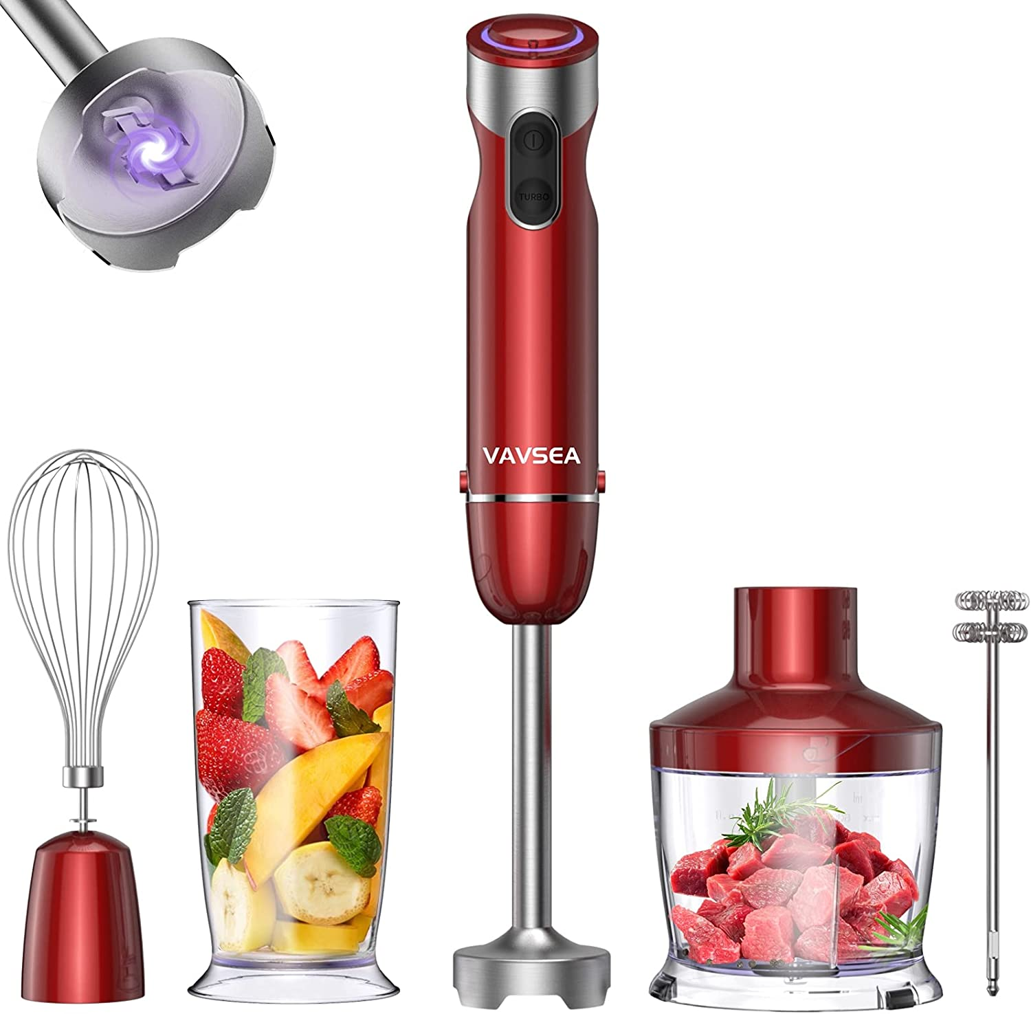 VAVSEA 1000W 5-in-1 Immersion hand Blender, 12 Speed Stick Blender with Mixing Beaker (22oz), Food Processor, 304 Stainless Steel With Egg Whisk, Milk Frother for Puree Infant Food, BPA Free, Red